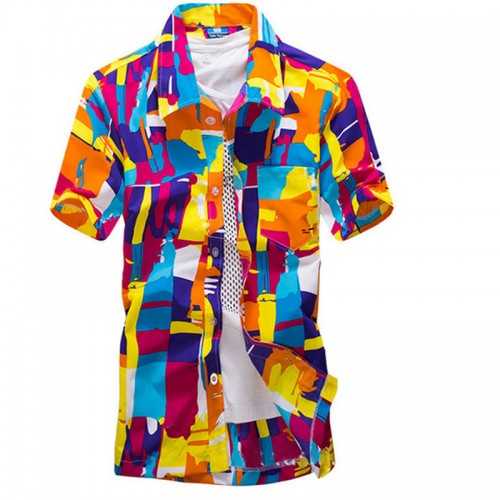 Mens Hawaiian Shirt Male Casual Shirts Short Sleeve Graffiti Print Social Plaid Blouse Men Polyester Beach