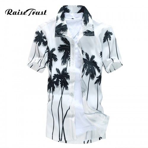 Mens Hawaiian Shirt Male Casual camisa masculina Printed Beach Shirts Short Sleeve brand clothing Free Shipping