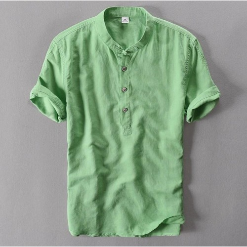 Mens Pullover Linen Shirts Short Sleeve Mens Quality Casual Shirts Slim fit Solid Mandarin Collar Cotton