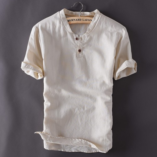 Mens Pullover Linen Shirts Short Sleeve Summer Breathable Mens Quality Casual Shirts Slim fit Solid Cotton
