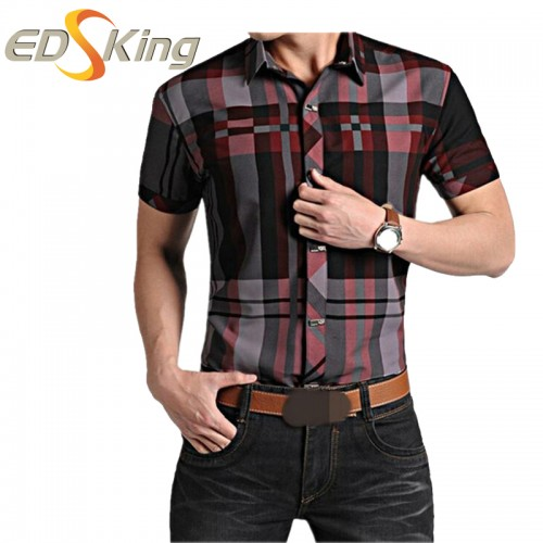 Mens Short Sleeve Shirts Plaid Print Dress Man Social Checkered Shirt Imported Male Clothes For Slimming