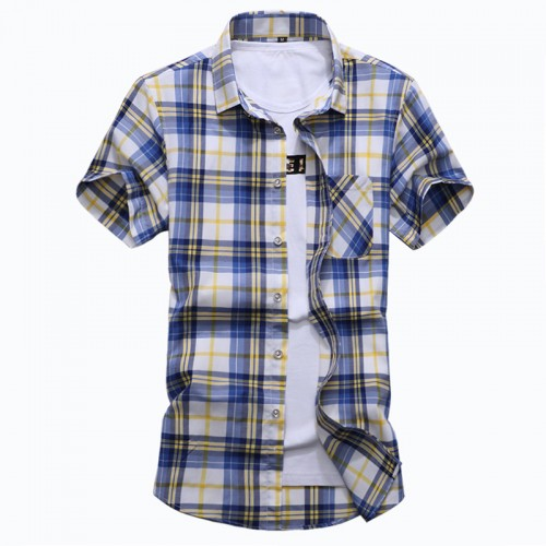 NCLAGEN Plus Size 6XL 7XL Summer Fashion Men s Shirt Slim Fit Short Sleeve Plaid Clothes