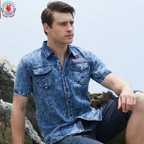 New Brand Men Shirt Short Sleeve Denim Shirt Mens Casual Dress Male Jean Shirts High