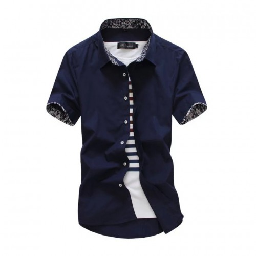 New Male Shirt Brand Summer Mens Dress Shirts Short Sleeve Casual Shirt Men Slim Fit