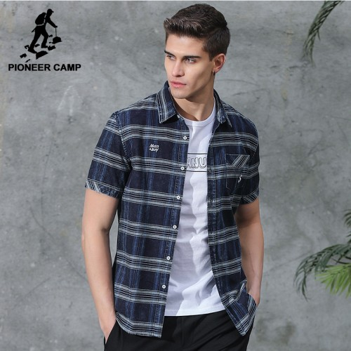 Pioneer Camp New short casual shirt men brand clothing fashion striped shirt male top quality 100