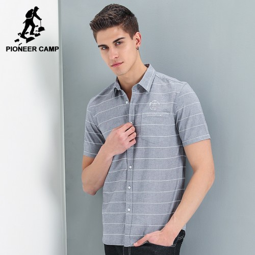 Pioneer Camp new style short shirt men brand clothing fashion striped shirt male top quality 100