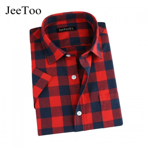 Red And Black Plaid Mens Shirt Short Sleeve Mens Check Shirts Cotton Summer Causal Shirt Men