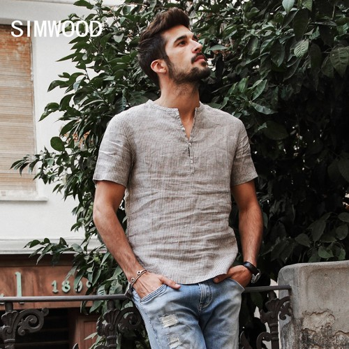 SIMWOOD Summer Shirts Men 100 Pure Linen Shorts Sleeve Striped Slim Fit Henry Collar Tops