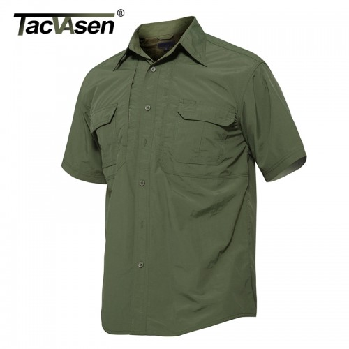 TACVASEN Brand Tactical Quick Drying Shirt Breathable Camp Men s Casual Short Sleeve Shirt Men Combat