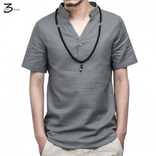 XMY3DWX Summer Casual Men Linen Shirt short Sleeve Solid V Neck Collar Leisure Shirts Men Clothing