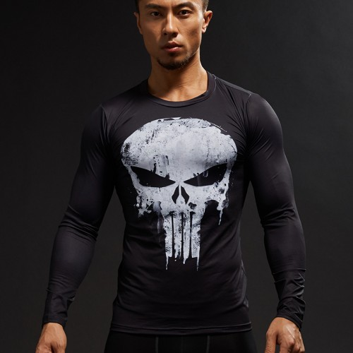 Punisher 3D Printed T shirts Men Compression Shirts Long Sleeve Cosplay Costume crossfit fitness Clothing Tops