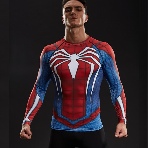 Raglan Sleeve Spiderman 3D Printed T shirts Men Compression Shirts 2017 NEW Crossfit Tops For Male