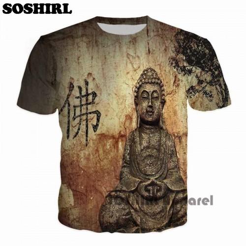 SOSHIRL Buddha Full Print T Shirt Novelty Short Sleeve Tee Tops Man Punk Outfit Masculine Streetwear
