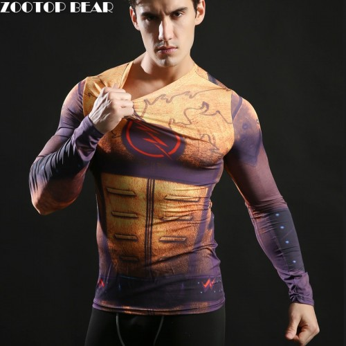 Superhero Superman Batman Spiderman Men Long Sleeve T Shirt Compression Tights Tops Fitness
