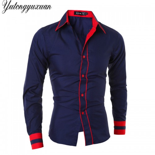 2017 Full Solid Cotton M xxl Men Slim Fashion Shirt Casual Long Sleeve Stripes Chemise Homme