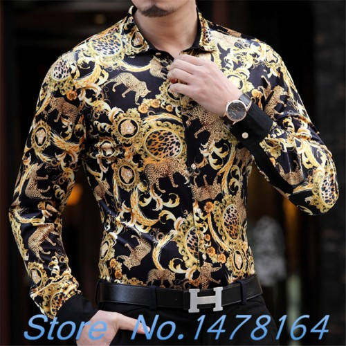 2017 Luxury Baroque Silk Mens Leopard Print Shirt Mens Gold Shirt Black Chemise Homme Slim Fit