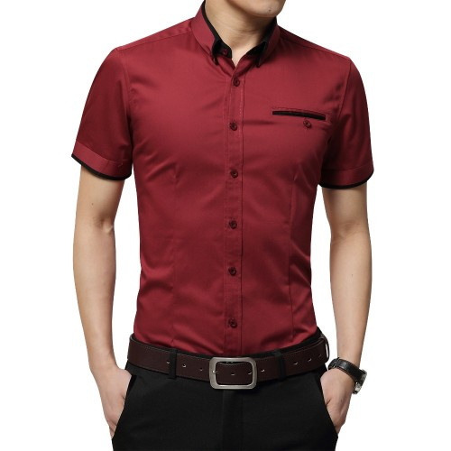 2017 New Arrival Brand Men s Summer Business Shirt Short Sleeves Turn down Collar Tuxedo Shirt