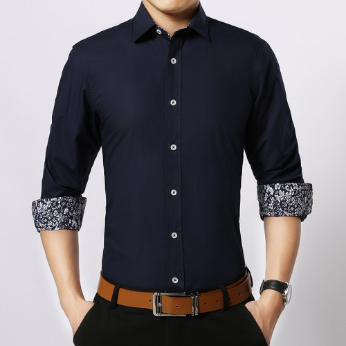 2017 spring Men Shirt Long Sleeve Cotton Slim Fit Patchwork Male Shirt white dark blue Dress