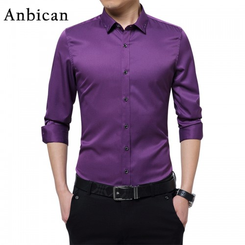 Anbican 2017 Fashion Mens Tuxedo Shirts Slim Fit Leisure Business Dress Shirt Men Long Sleeve social