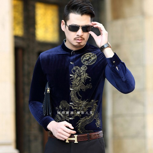 Chinese Style Long Sleeve Casual Shirt Men 2017 New Fashion Print High Quality Stand Collar Leisure