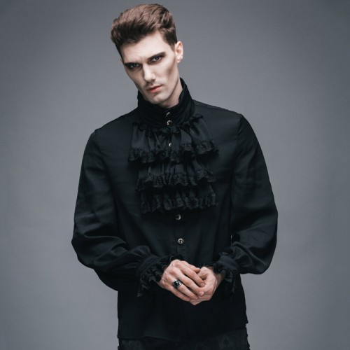 Devil Fashion Victorian Men s Gothic Flounce Tie Shirt Punk Black White Tuxedo Shirts with Lace