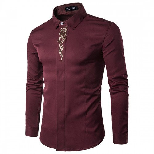 Gold Embroidery Printed Brand Shirt Men Long Sleeve Turn Down Collar Gentleman Tuxedo Shirts Chemise Homme