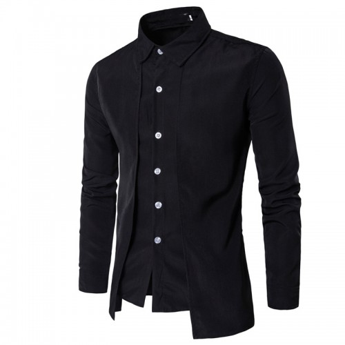 Hot 2017 Fashion Men Gentleman British Long sleeve shirt Evening dress tooling zipper shirt Male men