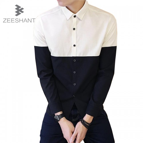 Men Long Sleeve Inner Contrast Dress Shirt Chemise Homme Men Tuxedo Shirt Camisas Hombre Vestir Dress