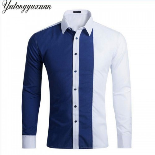 Men Slim Fashion Shirt Casual Patchwork Long Sleeve Stripes Chemise Homme Camisa Masculina Male Wedding Dress