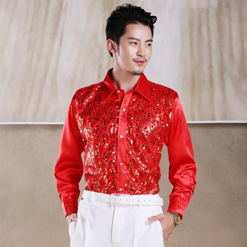 Men s glittering sequined shirt shirt stage performance clothing dance gala hosted chorus Shirts
