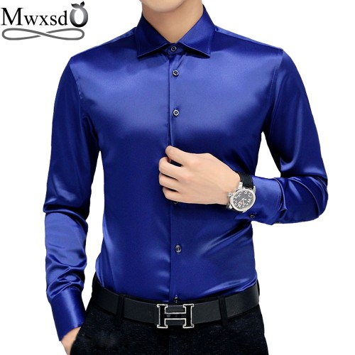 Mwxsd brand Men s tuxedo dress Shirts Wedding Party Luxury Long Sleeve Shirt Silk soft Shirt