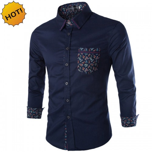New 2017 Spring Autumn Plus Size 5XL Men s Clothing Cotton Shirt Embroidery patch Color Printed