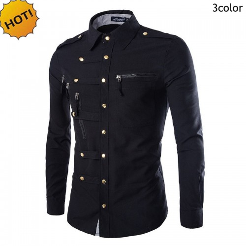 New2017 Fashion Autumn Camisa Masculina Men s Leisure long sleeve Shirts Buckle Multi Zipper Pocket Slim