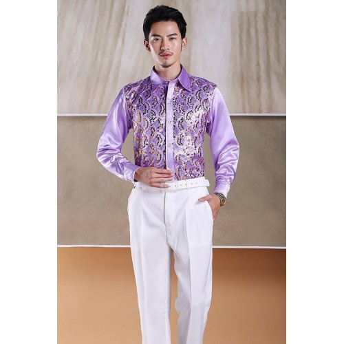 PYJTRL Men s Fashion Stage Show Purple Silver Piece Pink Yellow And Blue Shiny Sequins Slim