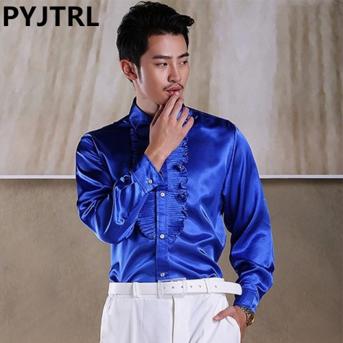 PYJTRL Mens Colour Lotus Leaf Length Sleeve Satin Shiny Shirt Stage Show Clothing Student Red Song