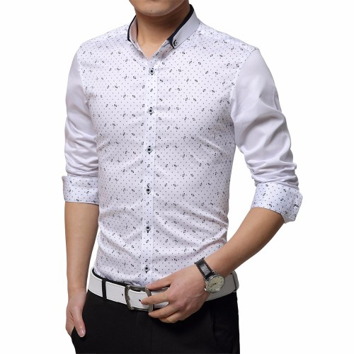 Plus Size 5XL 2017 Autumn Men Dress Shirt Tuxedo Shirt Print Long Sleeve Polka Dot Pattern