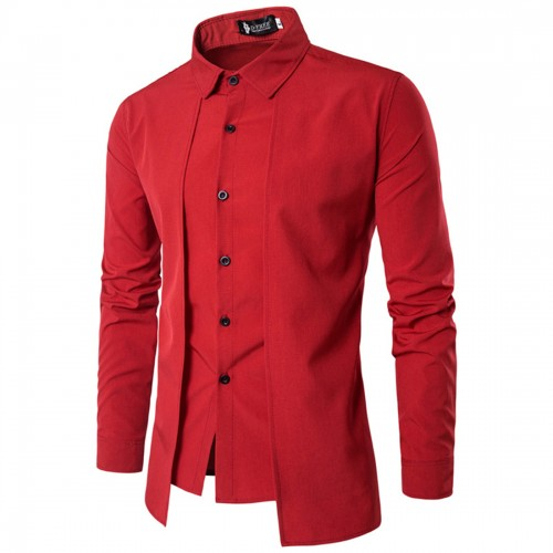 Red Black White Blue Shirt Men Long Sleeve Patchwork Tuxedo Shirts Summer Single Breasted Irregular Dress