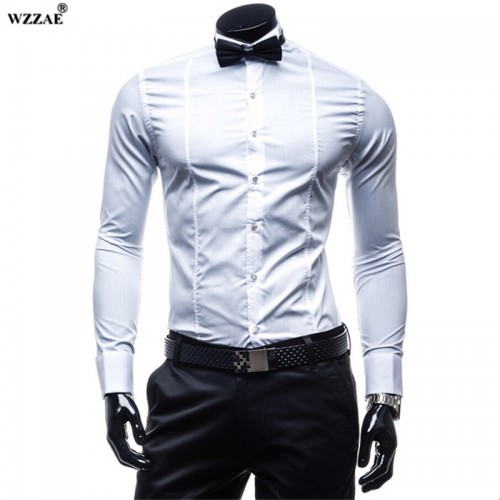 WZZAE 2017 New Fashion Cotton Men s Luxury Stylish Slim Fit Shirt Tuxedo Chemise Homme Dress
