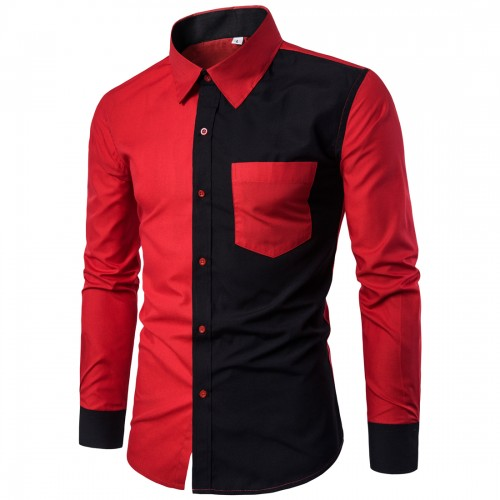 With Pockets Camisa Masculina Patchwork Brand Tuxedo Shirts Men Long Sleeve Office Work Formal Shirt Red