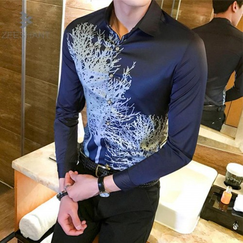 ZEESHANT Men Shirt Luxury Brand 2017 Male Long Sleeve Shirts Casual Multi Button Print Slim Fit