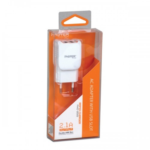 Faster FAC-200 - 2.1A USB Charger - White / Faster PK