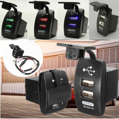 Universal Dual Port USB Car Phone Charger Socket Adpater Cigarette Lighter Socket Charging 65cm Cable For