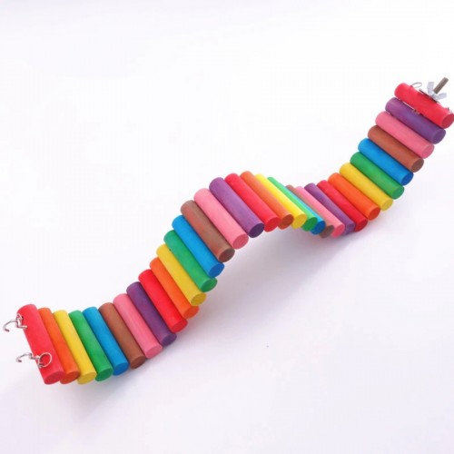 Bird Toys Colorful Rainbow Boardwalk Parrot Cage Funny Hamster Parrot Toys Stairs Ladder Wooden Toys Pet