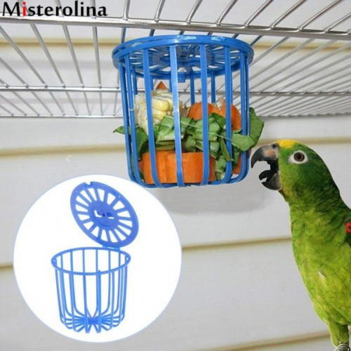 Cute Bird Parrot Feeder Cage Fruit Vegetable Holder Cage Accessories Hanging Basket Container Toys Pet Bird