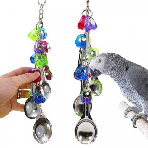 Misterolina Bird Toys For Cockatiels Metal Acrylic Spoon Shape Birds Climbing Chew Cage Hanging Toy Lovebird