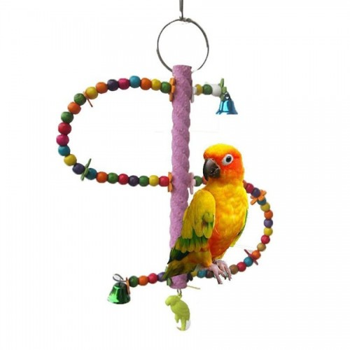Misterolina Lovebird Parrot Ladder Bird Toy Colorful Wooden Bird Swing Cage Toys For Parrots Stand Climb