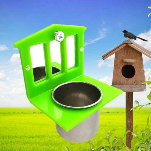 Parrot Pet Fixable Bird Mirror Food Container Set Bird Feeder Stainless Steel Food Water Bowl Bird