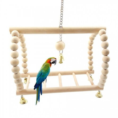 Parrot s Swing Suspension Bridge Stairs Parrots and Hamsters Toys in Log Color Climbing Frame Toy