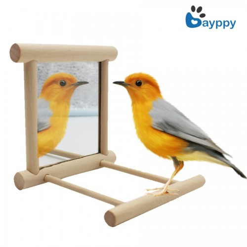 Pet Bird Mirror Wooden Mirror Funny Toy for Parrots Cockatiel Vogel Speelgoed Finch Canary Small Birds