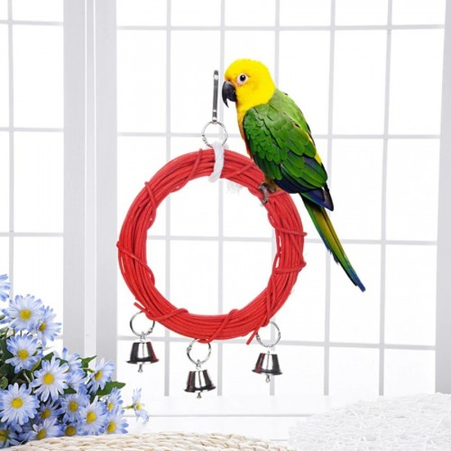 Pet Bird Rattan Ring Toy Wood Steel Ring Rope Red Swing With Bells for Small Parrot .webp